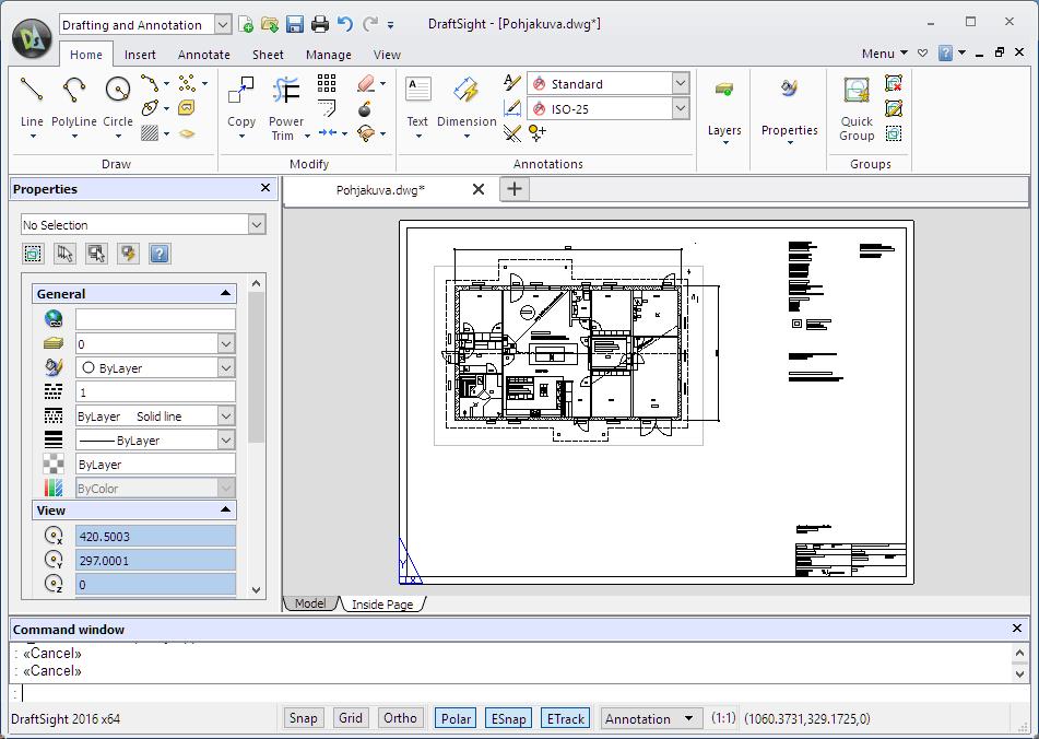 DraftSight 2016 käyttöliittymä